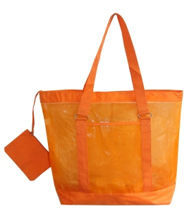 Nylon Mesh Beach Tote with Detachable Zipper Pouch Orange